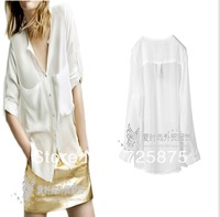 2013 New Double pocket Pure Blouses Long sleeve Chiffon shirt Casual Tops Free shipping