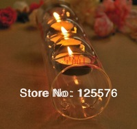 Free Shpping Dia 6 x L 24cm Tube (3 Cote) Candle Holder Tea Light Holder For Dinner Home/Bar/Wedding Decoration,2pcs/Lot