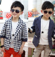 Retail 2013 New Fashion Dots/Plaid Three-quarter length sleeves Coat formal suit for Children,Kids Baby Boy's Suit