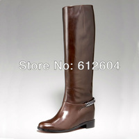 2013 designer winter red bottom flat boots women comfortale knee boots slip-on low heel chain biker boots large size 41 42