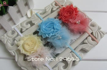 Fashion baby girl headbands for Photography props cute headband Shabby Frayed Chiffon Flower plus mesh flower 20pcs/LOT