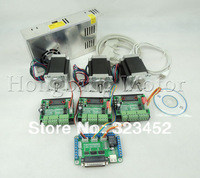 CNC Router Kit 3 Axis, 3pcs TB6560 1 axis driver +one interface board + 3pcs Nema23 270 Oz-in stepper motor + one power supply