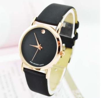 Мода золото роскошный кожаный кварцевые часы наручные часы женщин мужчины бесплатная доставка прямая поставка