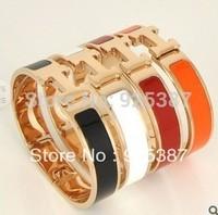 2014 Fashion jewelry Titanum18k gold rose punk letter H buckles rose gold street snap joker bangle bracelet free shipping
