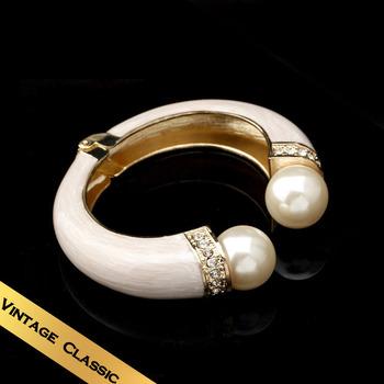 Special Bracelets & Bangles Handmade Enamel Man Made Pearl Vintage Flowers Design Free Shipping Jewelry SZ13A07071