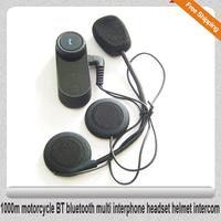 Free Shipping!!1000m motorcycle BT bluetooth multi interphone headset helmet intercom
