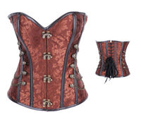 Sexy Lingerie  Brown/Red/ Black Steampunk Overbust  Steel Bone Corset  Bustier Fashion Top
