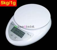 Scale Kitchen 5kg / 1g Digital Postal Cooking Food Diet Grams OZ LB 5000g  ( White Color )