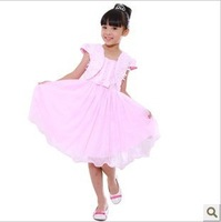 Free Shipping Kids Girls 2013Summer Dress set Korean Princess Dress Children Vest Two-piece Formal Dress Dress + opera cape Coat
