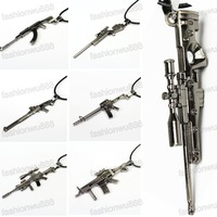 Hot Sale!Fashion Jewelry Men's Metal Army Gun Rifle Chain  Free Shipping 1pcs/lot
