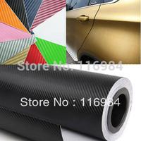 1pcs x  30CM x 1.27Meter 3D Carbon Fibre Vinyl Wrap Sticker Film Sheet 10 Colors