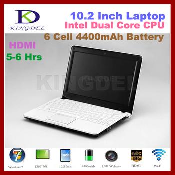 """10.2 """" brand new laptops,Netbook ,Intel Atom N2600 Dual Core1.86Ghz CPU,VGA,HDMI,6 cell 4400MAH Battery,4GB RAM+250GB HDD"""