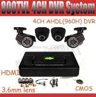 4CH CCTV System AHD DVR Kit 600tvl Dome Bullet CCTV Camera system 960H Full D1 DVR NVR HVR P2P Easy Remote View HDMI Onvif