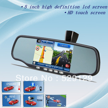 Android system car Rearview Mirror 5 Inch HD GPS Navigator+ Bluetooth headset+AV+DVR