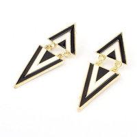 Fashion stitching black triangle earrings Simple Metal work cute fun triangle jewelry Fashion Geometric Earrings