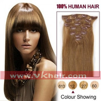 15''-22'' natural hair extension with clip in hair 7pcs Human Hair Extension 70g 80g #12-light brown Freeshipping[VKhair]