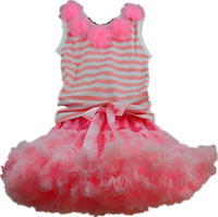 Fashion pink fairy  birthday party princess  tutu dress kids girls dance party tutu set dress rose top 2-9 Ys