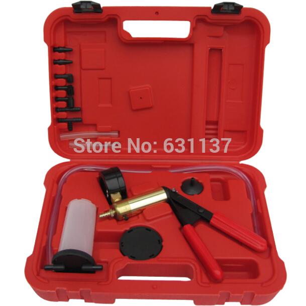 Free shipping Hand Brake Bleeder Tester Set Bleed Kit hand Vacuum Pump Car Motorbike Bleeding/ Bleeder Set Vacuum Pump Tester(China (Mainland))