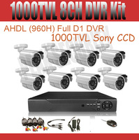 8CH CCTV System DVR Kit 1000tvl Sony CCD waterproof Camera 8CH 960H DVR Support Internet & Mobile Phone Monitoring Free Shipping