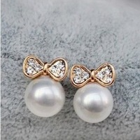 2014 Korean Fashion Jewelry, Butterfly Bow Knot Pearl Earrings For Women XY-E136