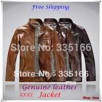 High Quality Men Leather Jacket M--XXXL Khaki/Black/Coffee,  Mandarin Collar Long Sleeve Jackets Coat  #JM09406--Free Shipping