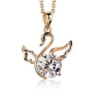 Italina Simple design animal/Swan/duck jewelry/ Austria crystal 18k gold plated pendant choker necklace WL0225-gold/silver