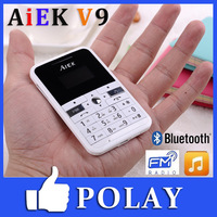 2013 Original Ultra Thin Mini Mobile Phone AIEK V9 Bluetooth MP3 FM Cool Card Music Child Kid Student Phone English Russian
