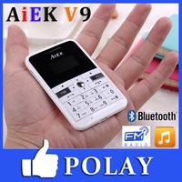 Original Ultra Thin Mini Mobile Phone AIEK V9 Bluetooth MP3 FM Cool Card Music Child Kid Student Phone English Russian Spanish