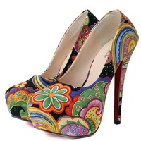 2013 Autumn New Arrival Fashion High-heeled Shoes Woman Platform Pumps yellow/blue