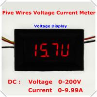 """DC0-200V Voltmeter 0-10A Ammeter five wire Digital Voltage Current meter 0.36"""" Dual Mode Panel Meter Display : Red [4 pcs / lot]"""