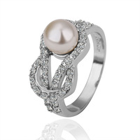 18K Gold plated Pearl rings, Shining Full Crystal Finger Ring For Woman Luxurious Paragraph Fashion R141