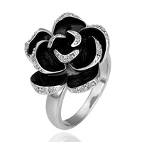 Hot Selling Elegant Vintage Jewelry Fashion  Black Rose Flower Rings for Women,Wholesale R090