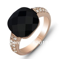 #CR0889 18K white Gold Plated shining black Crystal party rings luxury women's ring