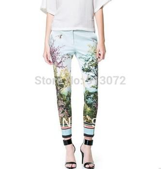 KZ69 Ladies' elegant trees view print pants zipper Fly vintage stylish casual ...