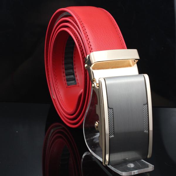 Big Discount Men's fashion red genuine leather Auto lock steel buckle belt waist belt #PK18-T4(China (Mainland))