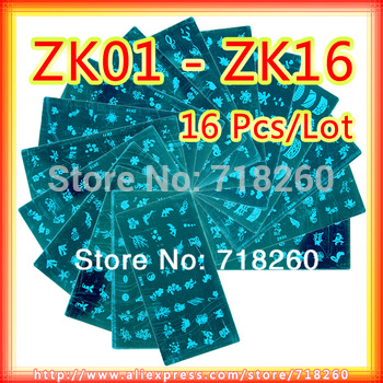 16Pcs/Lot ZK01-16 Nail Stamp Plate 12 x 6cm Stainless Steel Nail Art Stamping Plates For Nails Polish Transfer 2013 New Designer