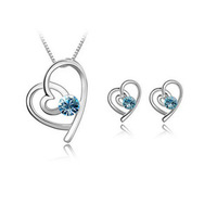2013 new fashion 18K white gold plated austrian crystal women fashion heart necklace/earrings jewelry set FREE SHIPPING