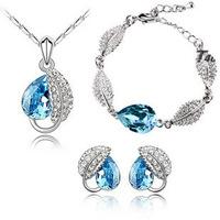 (Min order $10 mix) Wholesale high quality female short design pendant necklace+earring+bracelet jewelry set free shipping