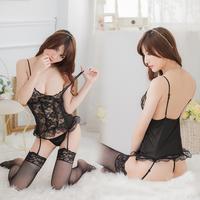 Free Shipping Black flower nylon gallus lingerie,Sexy Girls Costumes,black girls lingerie(Dress+Underwear)