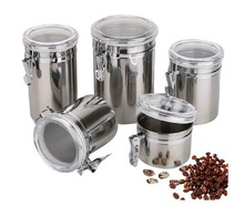 10(D)*11(H)cm Stainless Steel Seal Pot Storage Jar Transparent Cover Sealed Cans For Coffee Tea Candy Beans and Foods $11.5(China (Mainland))