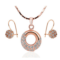 18K Real Gold plated Fashion Jewelry Set With Crystal Stellux Top Quality 18K Gold Plated Women Jewelry Set,Nickel Free!S169
