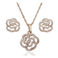 18K Real Gold plated Fashion Jewelry Set With Crystal Stellux Top Quality 18K Gold Plated Women Jewelry Set,Nickel Free!S005