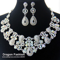 Promotion Gold Plated Wedding Bridal Austrian crystal Earrings Vintage Necklace Jewelry Set DDJSR2034