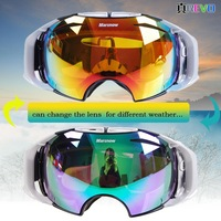 2014 new snow goggles glasses two changeable lens for day and night anti-fog TOP quality sledge snowboard ski glasses goggle