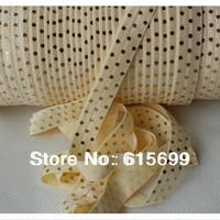 100Yards gold foil dots printed foe elastic ribbon(cream), welcome custom print fold over elastic