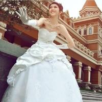 Wholesale Price Fashion 2014 Sweet Princess Tube Top Wedding Dress Vestido Plus Size Bandage Romantic Gown White Drop Shipping
