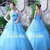 Custom Made Sweet Elegant Bride 2014 Hot Romantic Fashion Princess Zipper Wedding Dresses Blue Party Dresses Gowns Drop Shipping