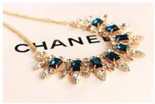 2015 New 4 Colors Factory wholesales Fashion Western statement elegant Punk Rinestones choker Pendant Chain necklace