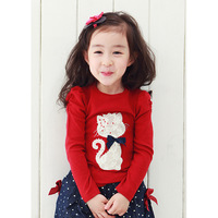 wholesale 2~7 age children clothing 2013 new autumn tees cartoon beading and lace cat red girl's T-shirts