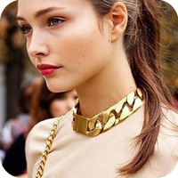 Fashion Jewelry Set Women's Necklace Bracelet Accessories Vintage Punk Thick Chain Chokers,Acrylic material Gold plated